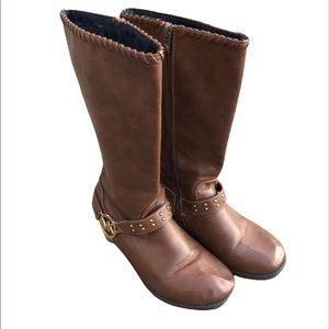 MICHAEL KORS Carlita Brown Studded Riding Boot